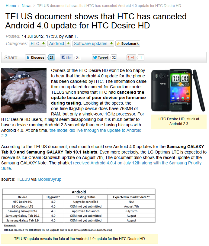 디자이어 HD의 ICS 업데이트 되는거야 안되는거야?