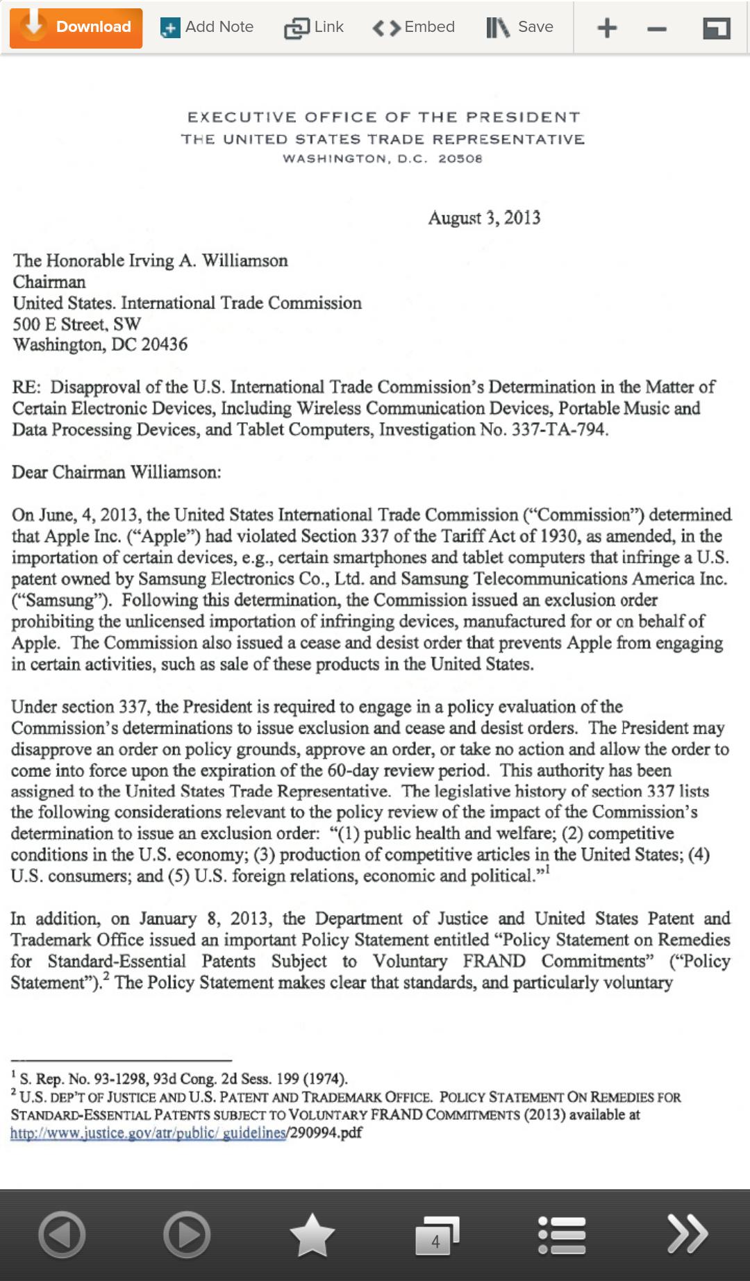 오바마, 미국 ITC의 애플제품 수입금지 판결에 거부권 행사