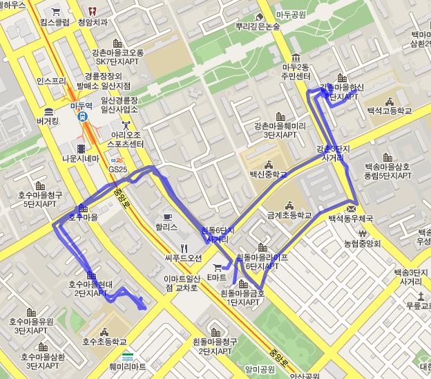 매일 다니는 길 – 구글 맵 연동
